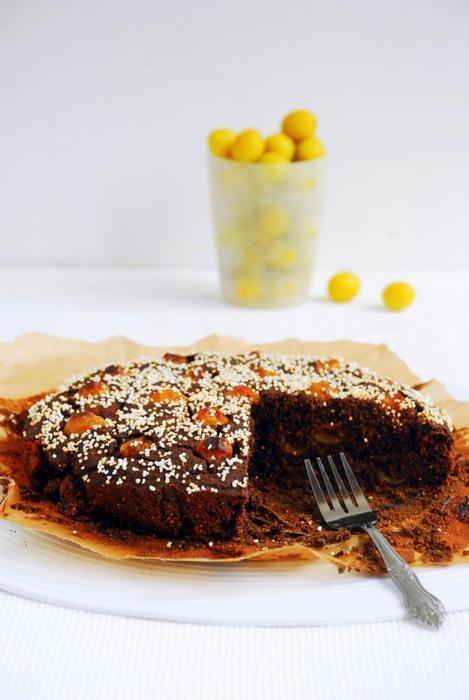 Ciasto amarantusowe z mirabelkami